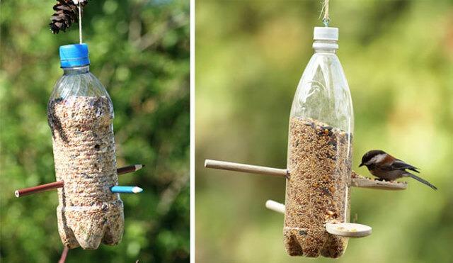 Làm đồ đựng thức ăn cho chim